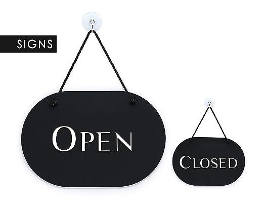 3DP Signs - óvalo con Estilo Negro - Open Closed - Cartel ...