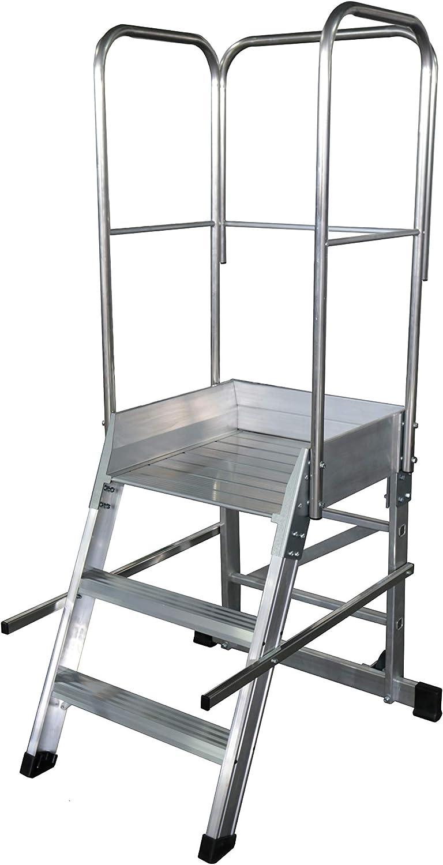 KTL Escalera Profesional de Aluminio un Acceso con Plataforma de Trabajo 3 peldaños 60x60 Serie Store 68º almacén: Amazon.es: Hogar
