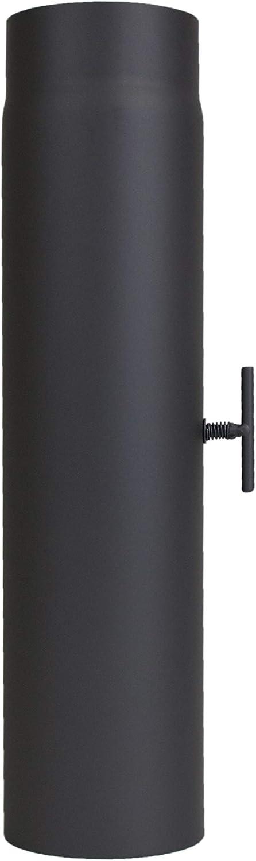 Tubo garant/ía 500/mm con v/álvula de estrangulaci/ón /Ø 120/mm negro lanzzas humo Tubo estufa