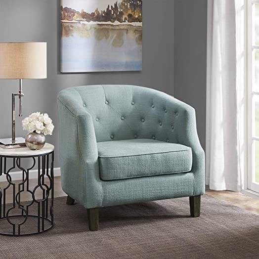 Madison Park Ansley Accent Chairs-Solid Wood, Button Tufted Armchair Modern Contemporary Style Living Room Sofa Furniture Barrel Receding Arm Design, Bedroom Lounge, 33 Wide, Aqua
