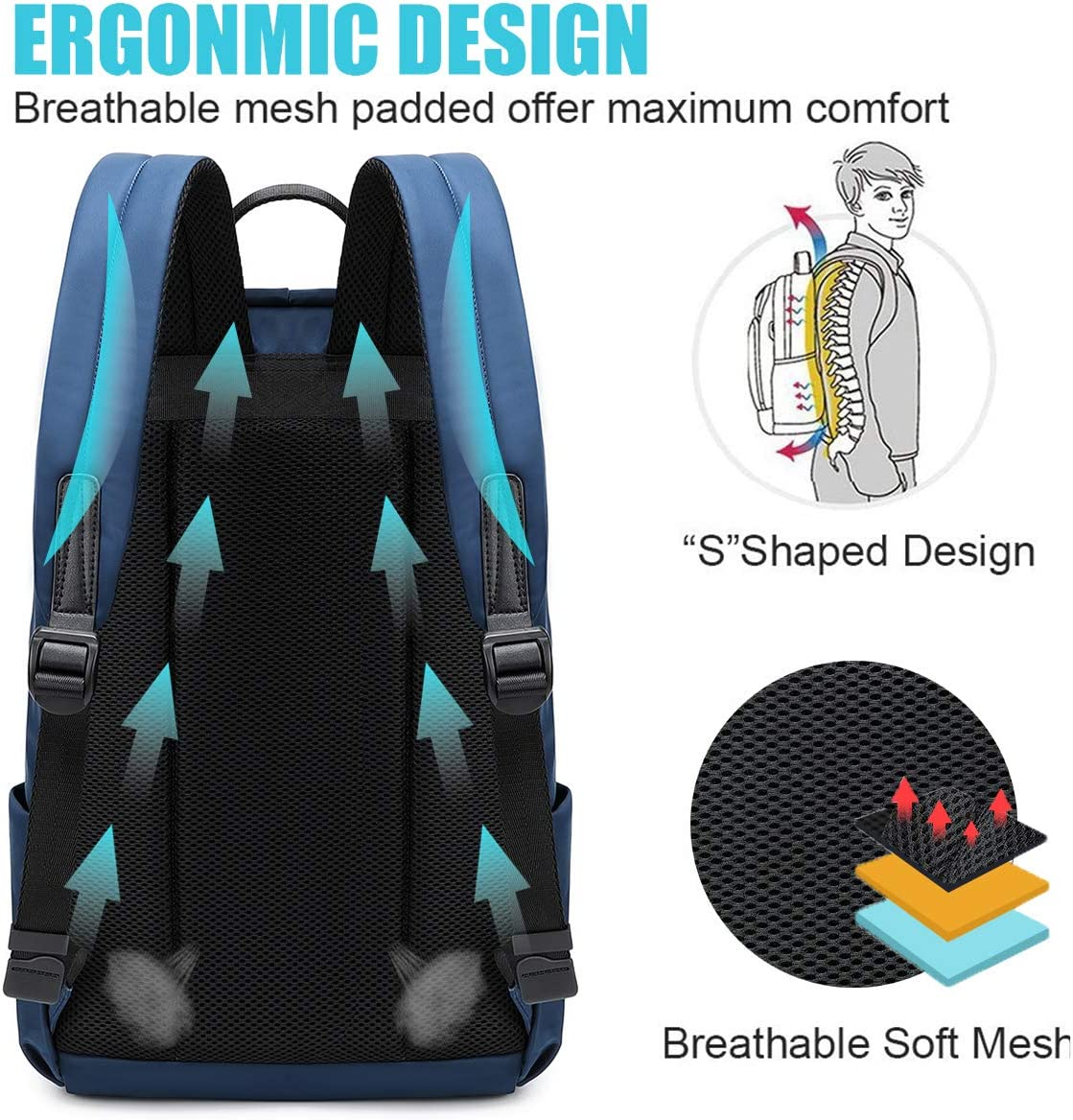 Multipurpose Casual Student Bag Slim Durable Laptop Backpack with Large Compartment Fits 15.6 Inch Notebook or Tablet for University//Business//Travel//Work School Backpack