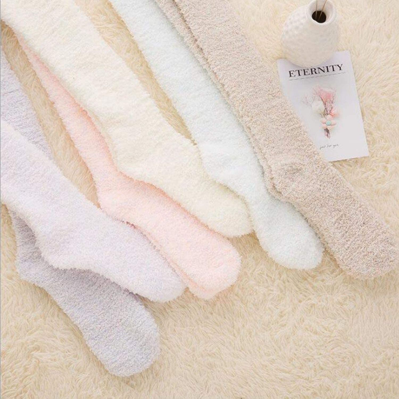 Autumn Winter Women Warm Solid Color Long Socks Coral Velvet Fleece Lady Girls Casual Women Fluffy Floor Socks