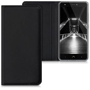 kwmobile Funda para bq Aquaris X/X Pro - Carcasa para móvil de [Cuero sintético] - Case [Plegable] en [Negro]