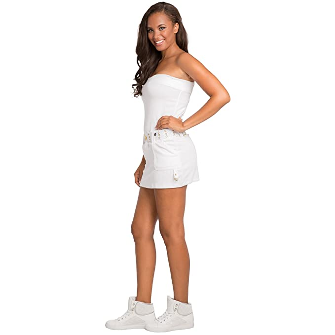 7247761e108 Sweet Vibes Junior Womens Dress Stretch Terry Cloth Tube with Contrast Belt  at Amazon Women s Clothing store