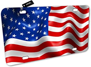 American Flag Patriotic USA Flag License Plate Front Aluminum Metal License Plate Auto Car Tags Vanity Gifts Idea Home Wall Decor Signs for Women Men Girls Boys 6 inch X 12 inch