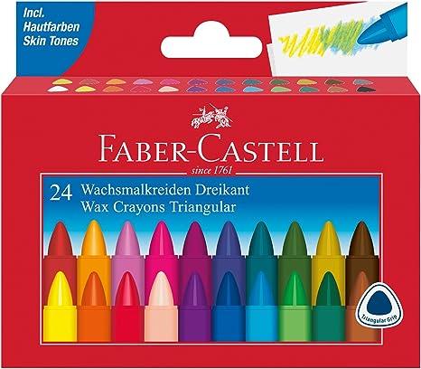 Faber-Castell AR-120024 – Triangular Cera 24 Veces Tiza Estuche de cartón: Amazon.es: Juguetes y juegos