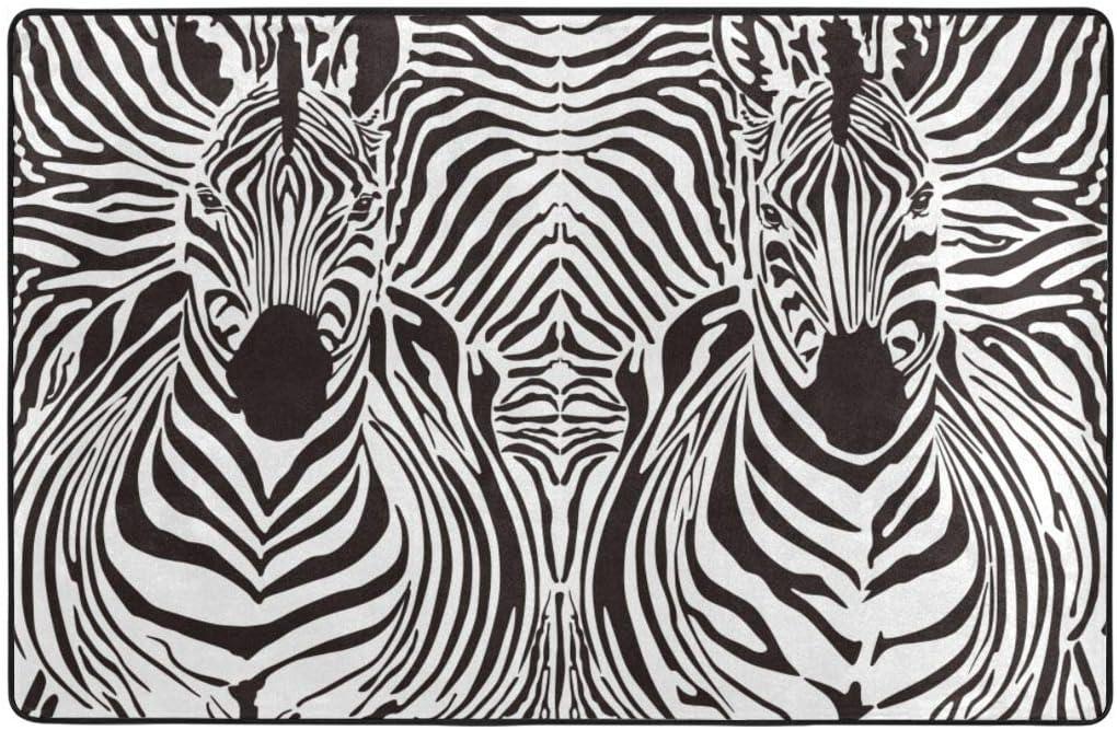 Throwpillow Alfombra de Baño,Patrón de ilustración Fondo de Pieles de Cebra Mezclado sobre Cabezas de Cuerpo de Cebra,Súper Suave Multiuso Lavable a Máquina75x45cm