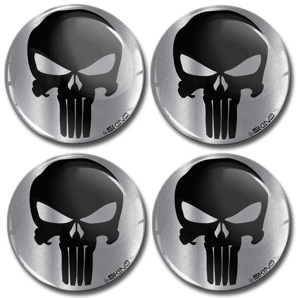 Biomar Labs/® 4 x 55mm 3D Adesivi in Silicone per Coprimozzo Cerchione Copricerchi Tappi Ruote Auto Tuning Punisher Skull Teschio Cranio A 7955