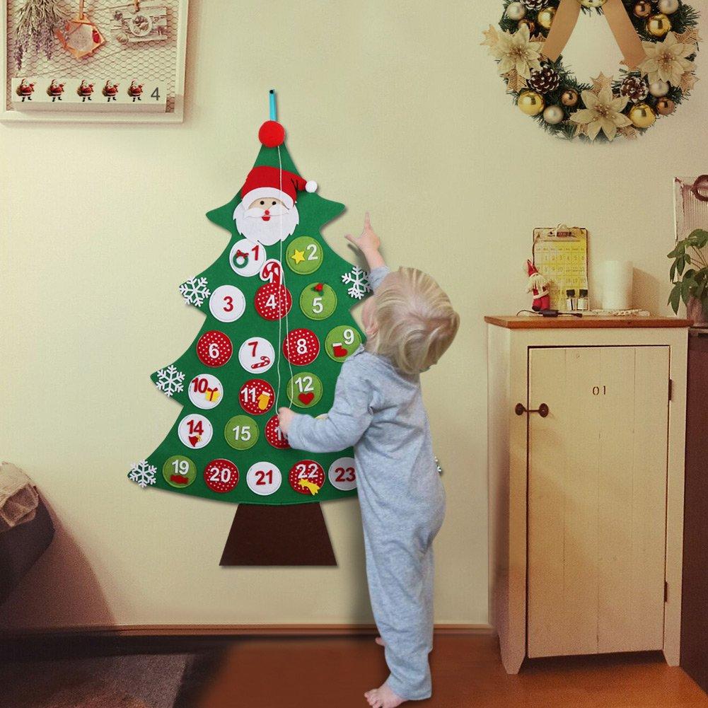 OurWarm Felt Christmas Advent Calendar 2018 24 Days Countdown Wall Hanging Tree Calendars for Christmas Decorations 24 x 34 Inch