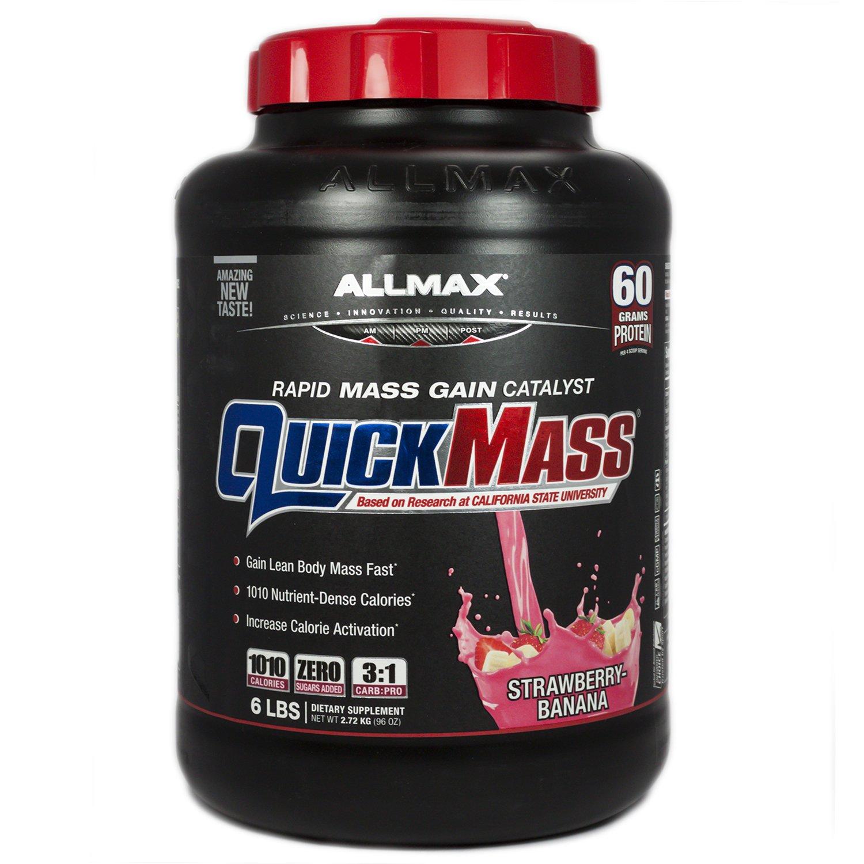 ALLMAX QUICKMASS LOADED, Rapid Mass Gain Catalyst Powder, Zero Trans Fat, Strawberry Banana Flavor, Dietary Supplement, 6 Pound