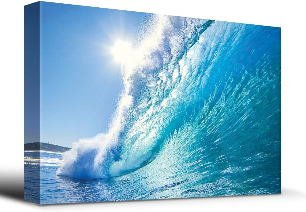 Surf a Tropical Blue Wave - Canvas Art Home Art - 12x18 inches