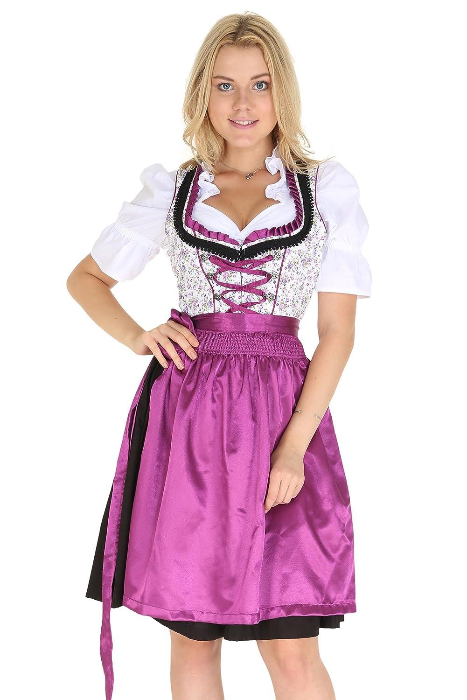 Bavarian Clothes Sale Dirndl 3 tlg.Trachtenkleid Kleid, Bluse, Schürze, geblümt Gr. 34-52 in den Farbe pink rosa schwarz lila Gold violett Schürze