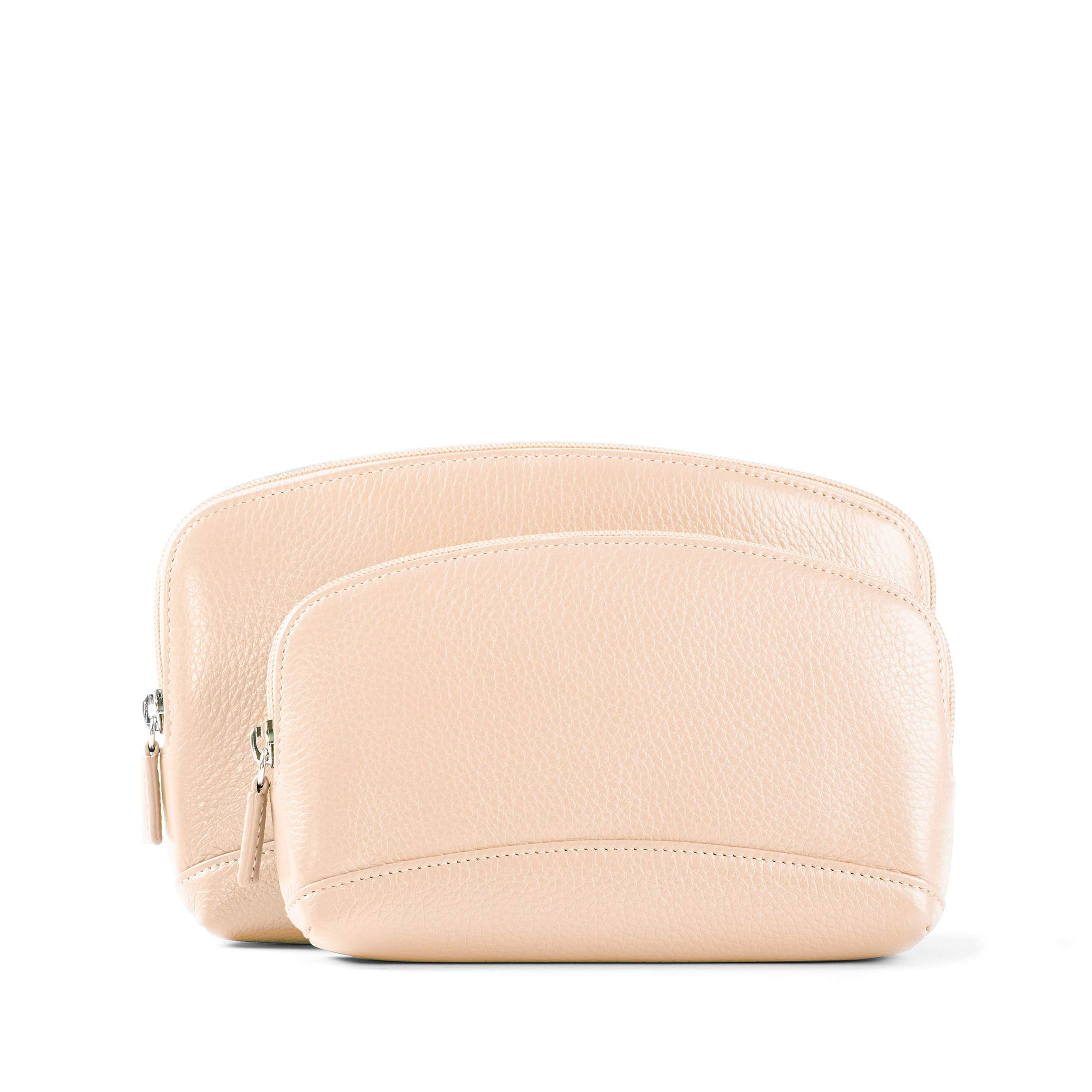 Cosmetic Bag Set - Full Grain Leather Leather - Rose (pink)