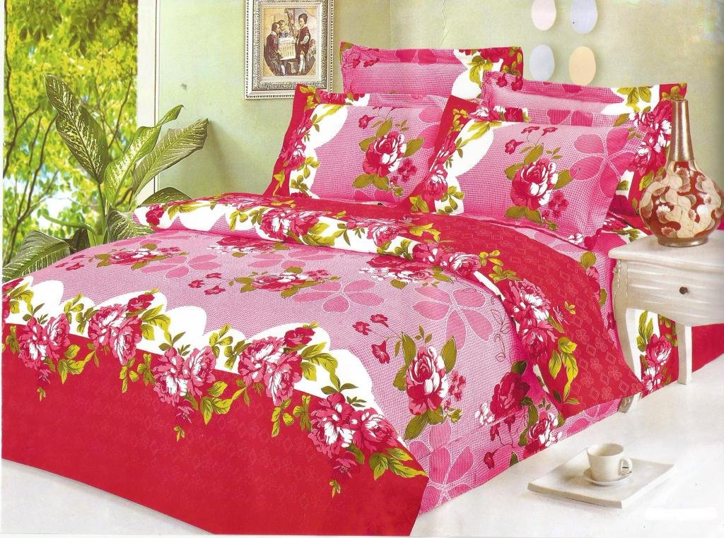 Amethyst Attractive Design Polyester Double Bedsheet with 2 Pillow Covers - Multicolor (RKH-BST-517)