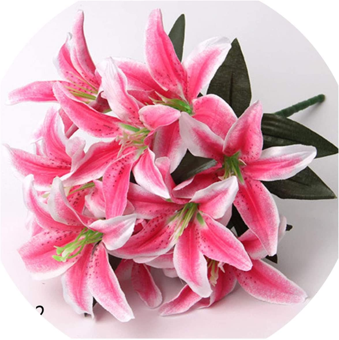 Amazon Com Fortune God Artificial Lily Flower Real Touch Leaves Wedding Decoration Fake Flowers Bouquet Office Party Home Decor L02 Kitchen Dining