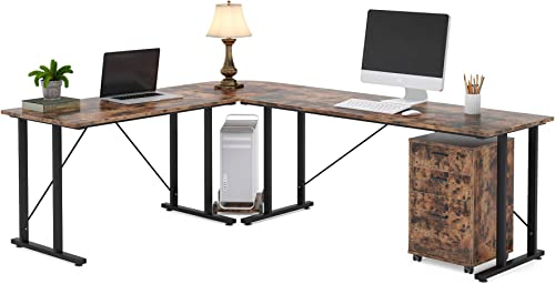 Tribesigns 83 Inch Industrial L-Shaped Desk