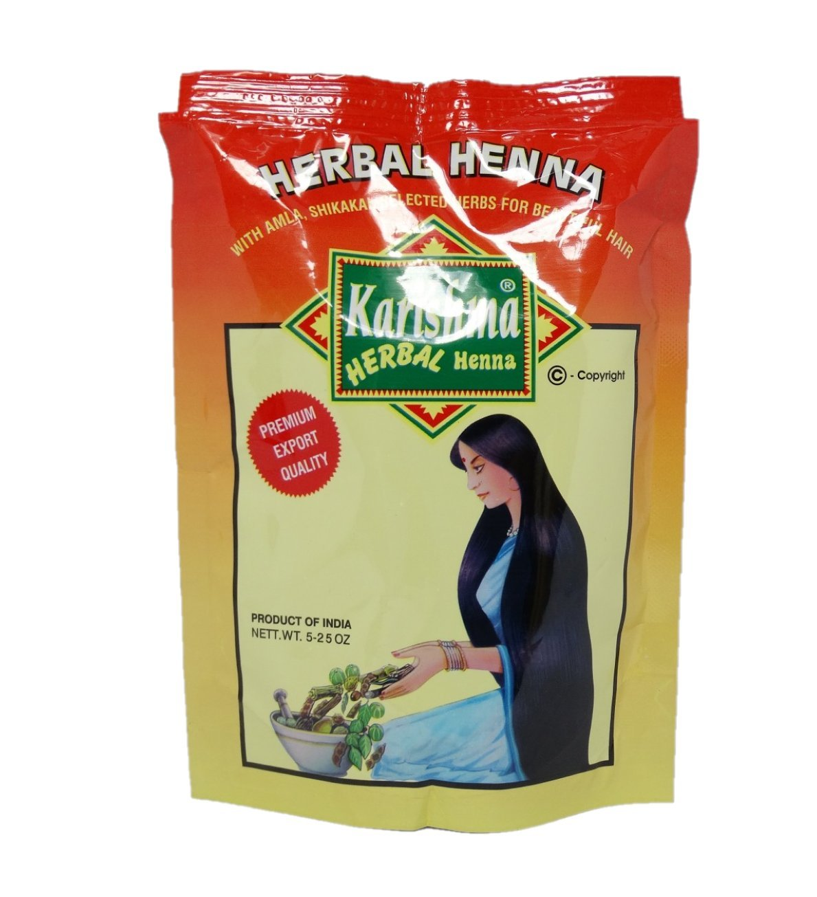 KARISHMA - Pure Henna Powder with Healing Herbs - Darkens and Cools Red Tones - Prevents Dandruff and Hair Fall - 150 gr Yumi Bio Shop