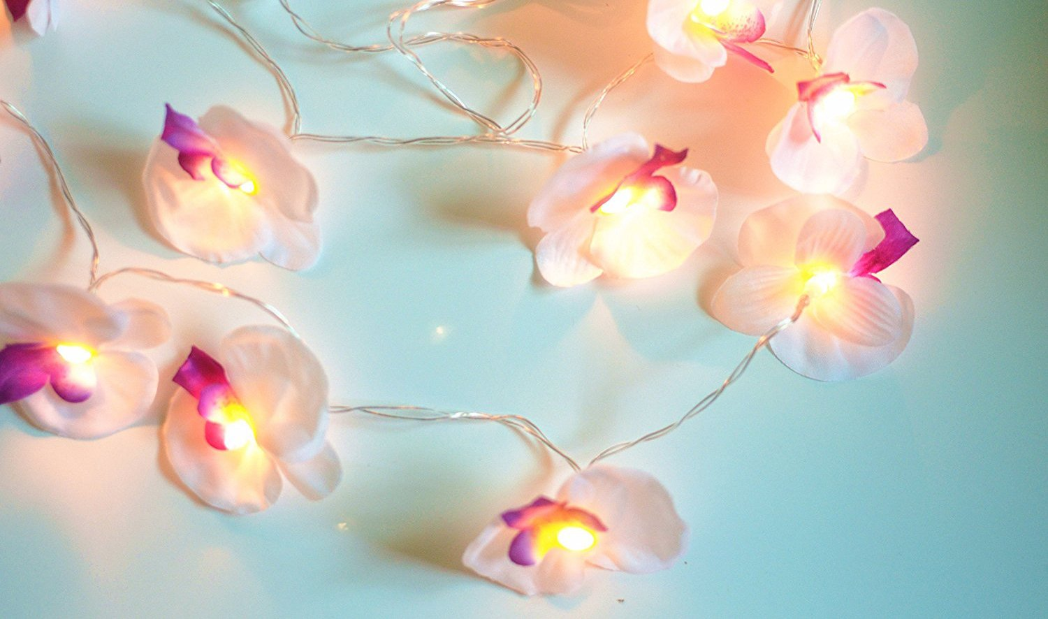 GaanZaLive36 Magical Garden Handmade 20 Romantic Hawaiian Plumeria Frangipani Natural silk Flower Fairy String Lights Patio Wedding Party Vanity Kid Wall Lamp Floral Home Decor 3m (Orchid, White) by GaanZaLive36