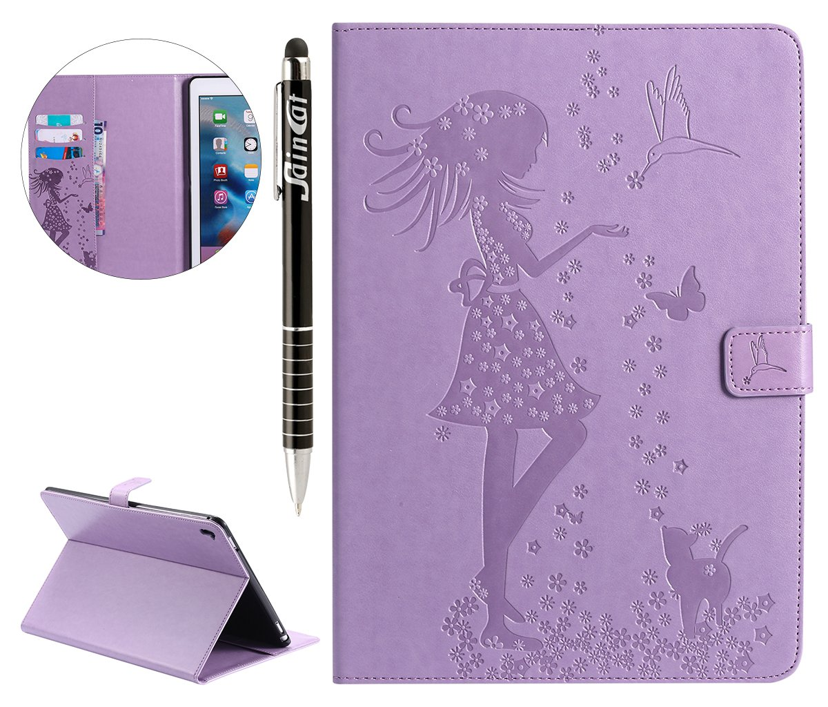 Custodia iPad Pro 9.7, SainCat Custodia Pelle Ultra Sottile Portafoglio Shock-Absorption Flip Gatto e Donna Cover per iPad Pro 9.7-Luce Viola FILP012493