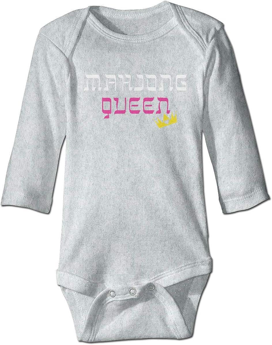 Marsherun Infant Babys Toddler Mahjong Queen Logo Long-Sleeve Bodysuits Playsuit
