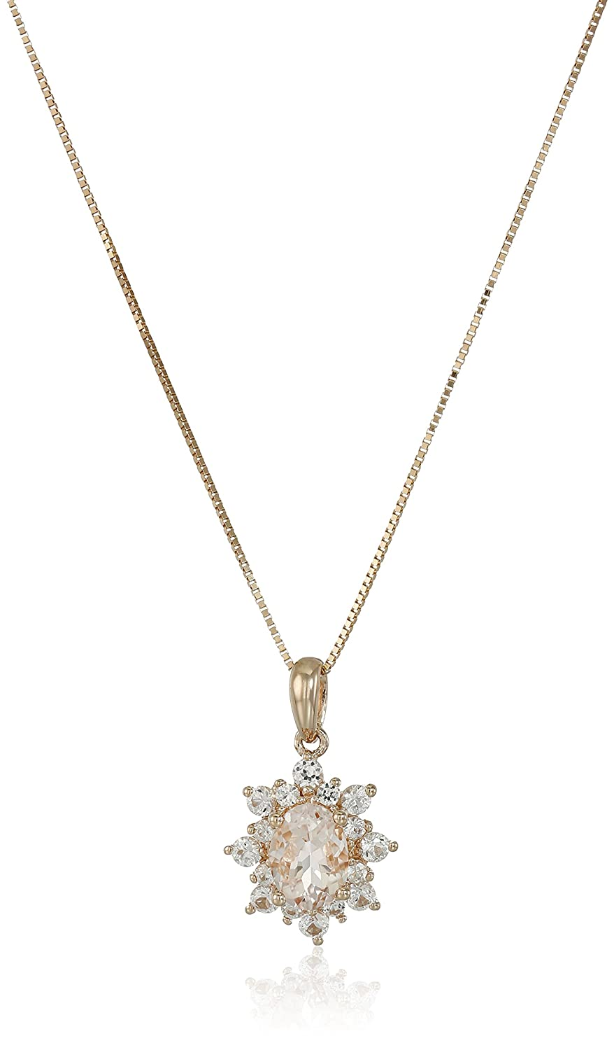 10k Pink Gold Morganite and Created White Sapphire Pendant Necklace, 18""