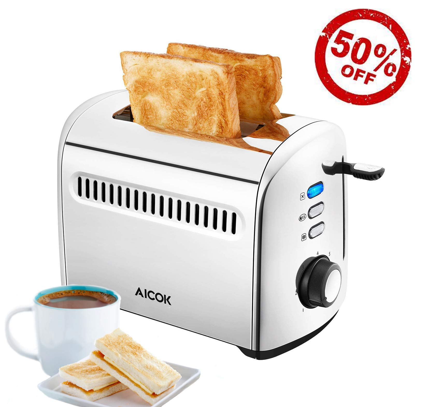 Toaster 2 Slice AICOK Extra-Wide Slots Stainless Steel Toasters with Bagel Defrost Cancel Function, 7 Toast Shade Level, Removable Crumb Tray, High Lift Level, 850W by AICOK