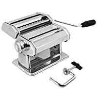 AMOS ® 3 in 1 Heavy Duty Stainless Steel Professional Fresh Pasta Lasagne Spaghetti Tagliatelle Maker Machine Cutter with 3 Cut Press Blade Settings with Table Top Clamp Kitchen Set