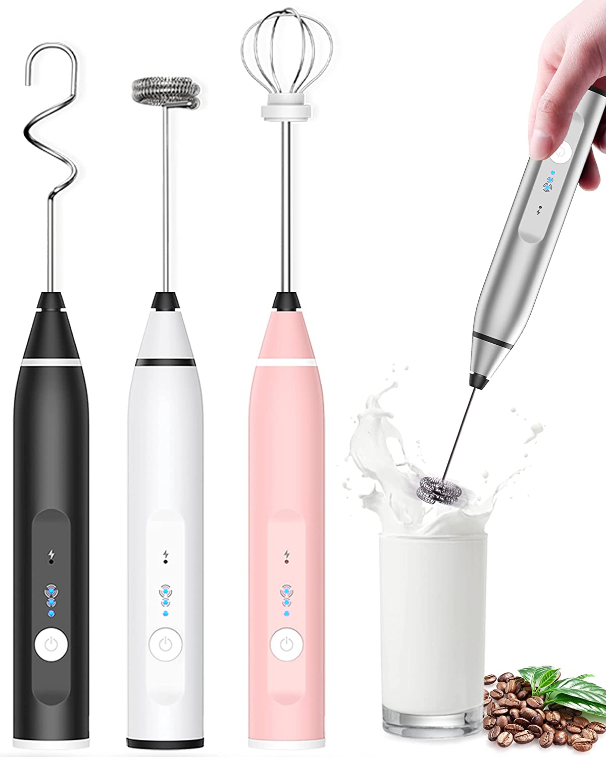Milk Frother Rechargeable Handheld, Electric Whisk Coffee Frother Mixer with 3 Stainless whisks, 3-Speed Adjustable Foam Maker Blender for Coffee Matcha Latte Cappuccino Hot Chocolate Keto Diet(Silver)