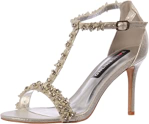 296b5ea331a Onlineshoe Women s Diamante and Flower Strappy Heeled Party Pumps