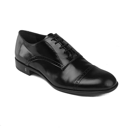 9905e9bd067bb Versace Men's Leather Brogue Accent Lace-up Oxford Dress Shoes Black ...