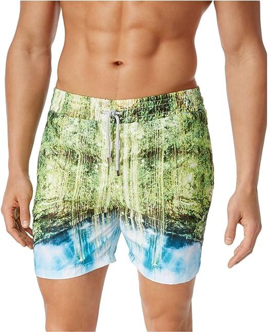 Mens Swim Trunks Drawstring Board Shorts Newport Beach Sunset