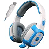 SADES SA906 Pro USB PC Gaming Headset 7.1 Surround Sound Stereo Headband Over-ear Headphones with Microphone Vibration Volume Control Noise Canceling LED Lighting(White)