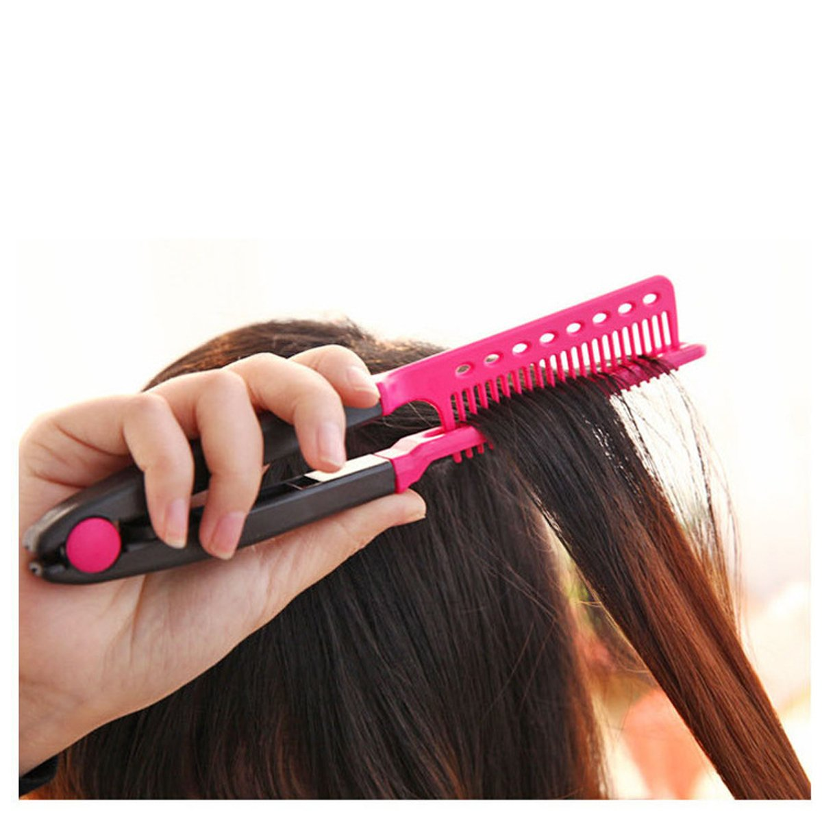 TECHSON V Shaped Easy Comb, Hair Straightening Comb, Hairdressing Tool for Salon, Home use (Pink)