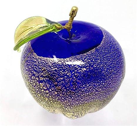 Art Glass Clear Cobalt Blue Pear Figurine Paperweight Handmade
