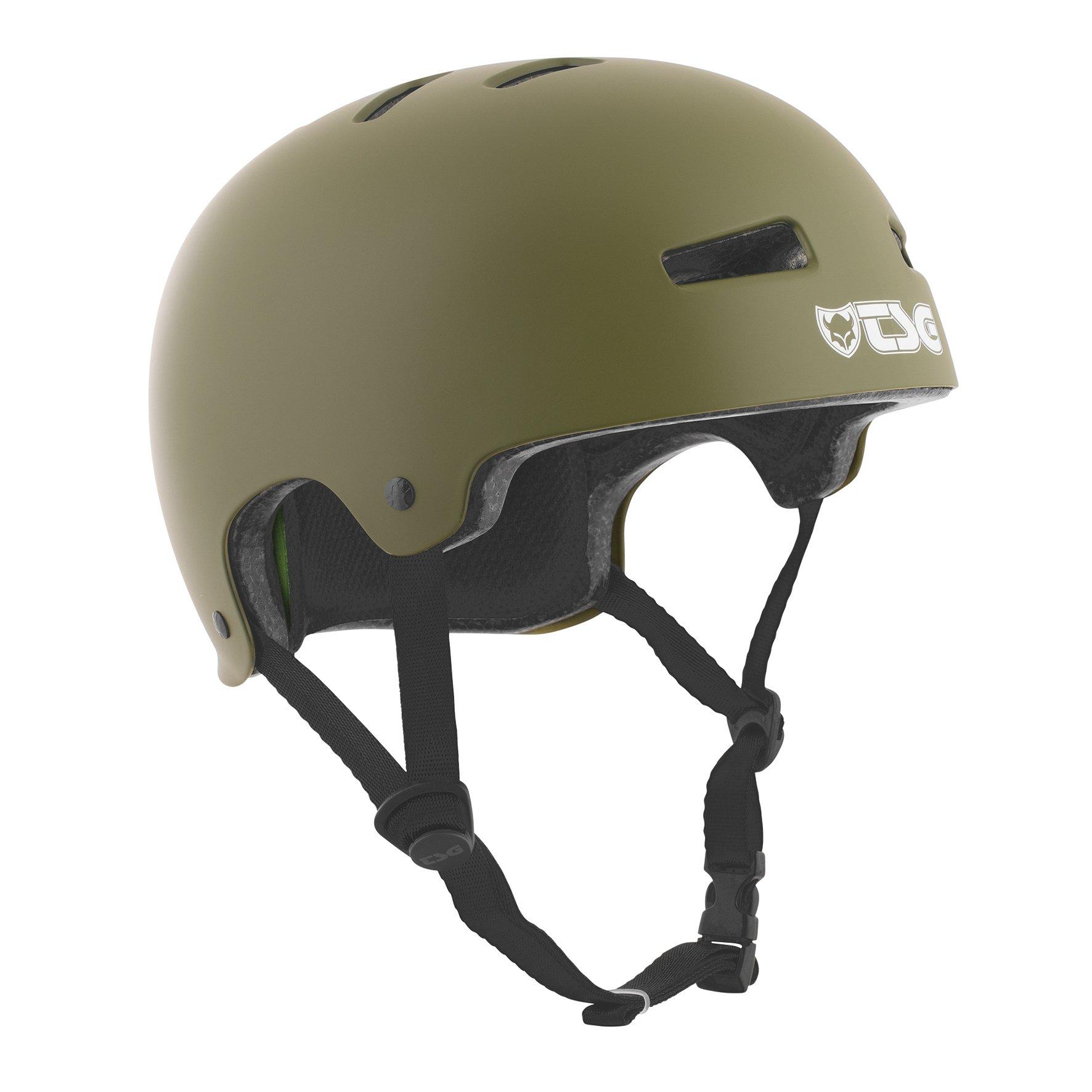 TSG - Evolution Solid Color (Satin Olive, S/M 54-56 cm) Helmet for Bicycle Skateboard