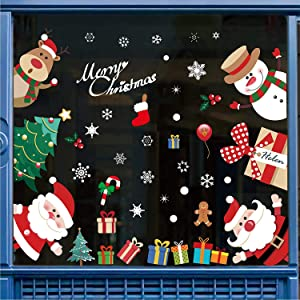 SUNBABY 296PCS Christmas Window Clings Winter Window Decals Xmas Window Stickers Snowflake Santa Claus Reindeer New Year Kid's Room Party Ornaments (12sheet)