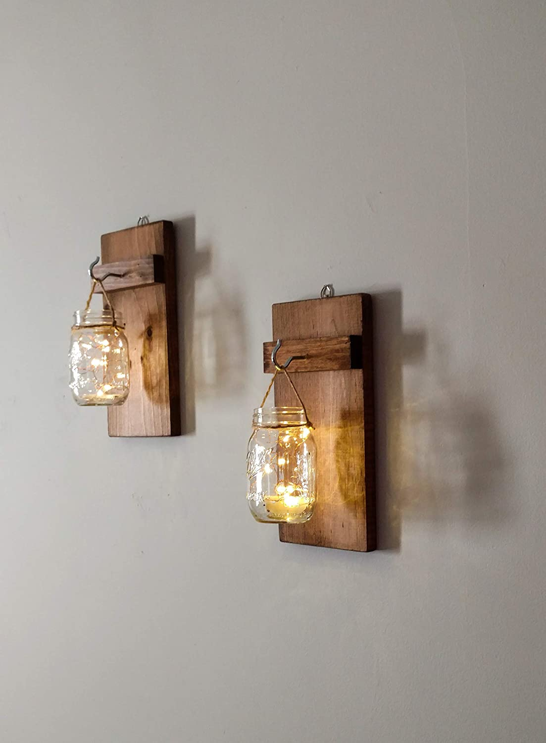 Amazon com rustic mason jar hanging sconces with lights set of 2