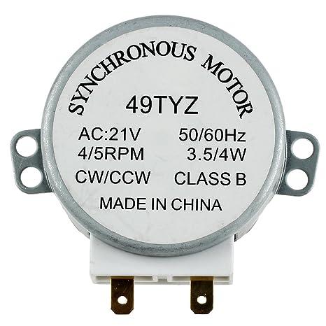 TOOGOO(R) Motor sincronico de plato giratorio del horno de onda mini 3W 5 / 6RPM AC 21V 50 / 60Hz