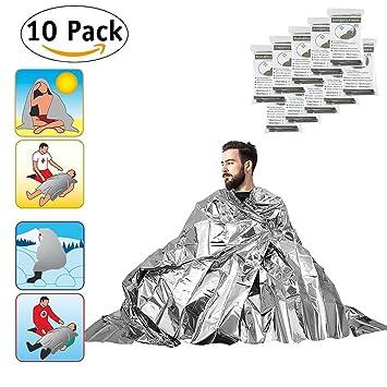 Manta térmica de emergencia Mylar foil dormir manta, compacto impermeable plata mantas para kits de primeros auxilios (10-Piece): Amazon.es: Deportes y aire ...