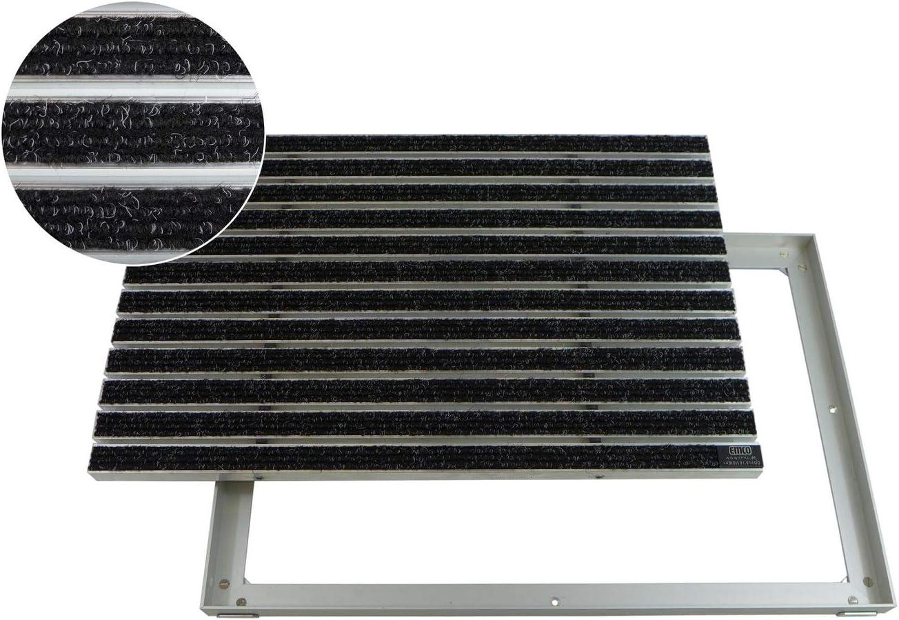 EMCO Eingangsmatte Large Rips sand 12mm ALU Rahmen Fußmatte Matte Fußabtreter