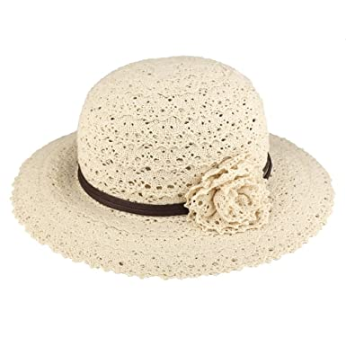 b36847185ec Trendy Apparel Shop Girl s Corcheted Flower Band Large Brim Summer Hat -  Natural - SM