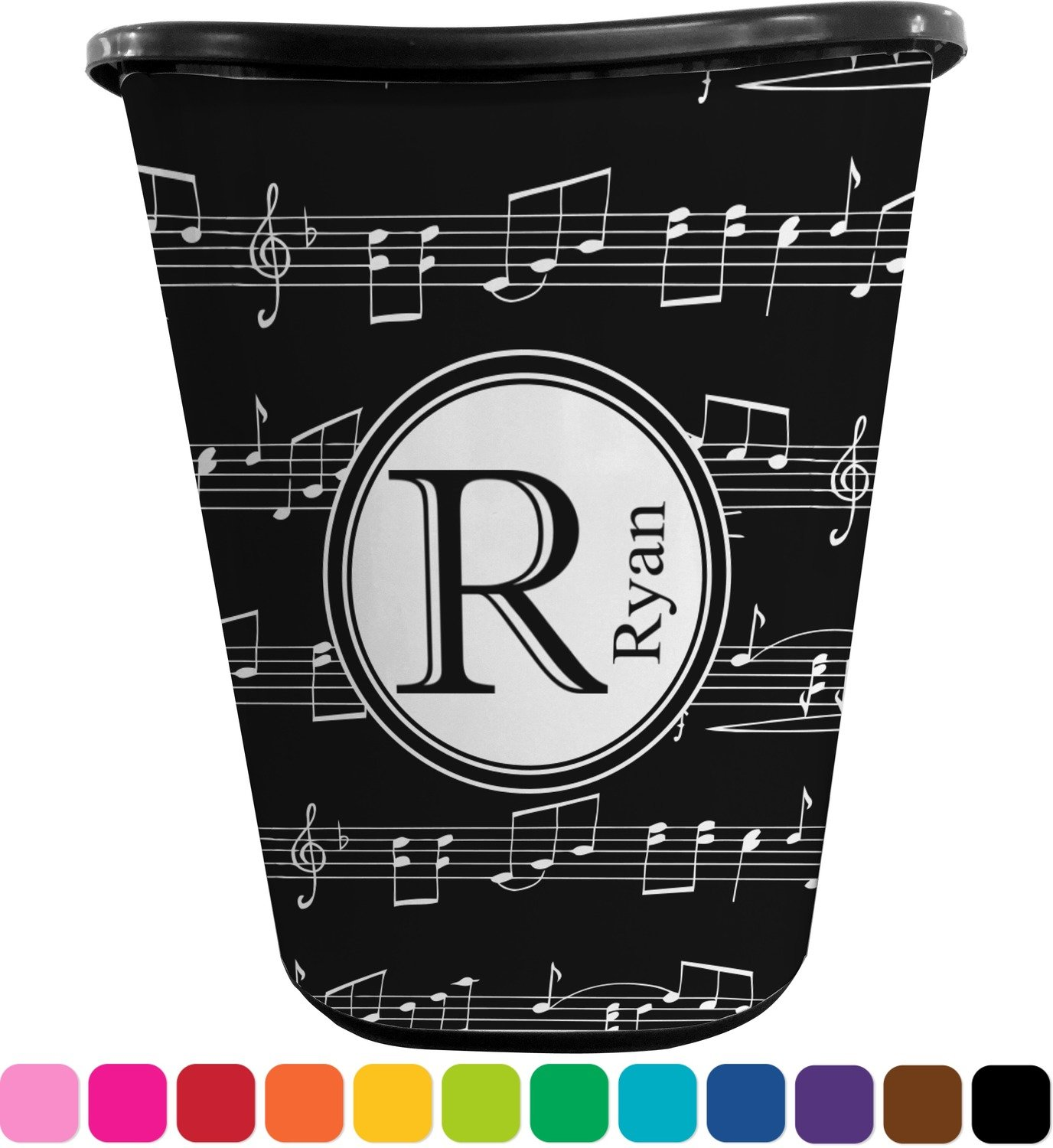 Musical Notes Waste Basket (Black) (Personalized)