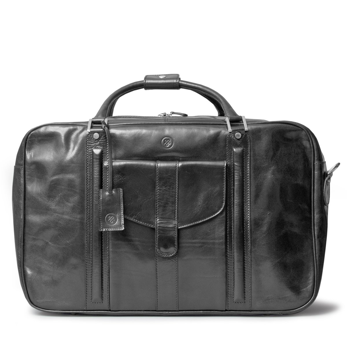 Maxwell Scott Luxury Black Leather Suitcase Bag for Men (The Maurizio)