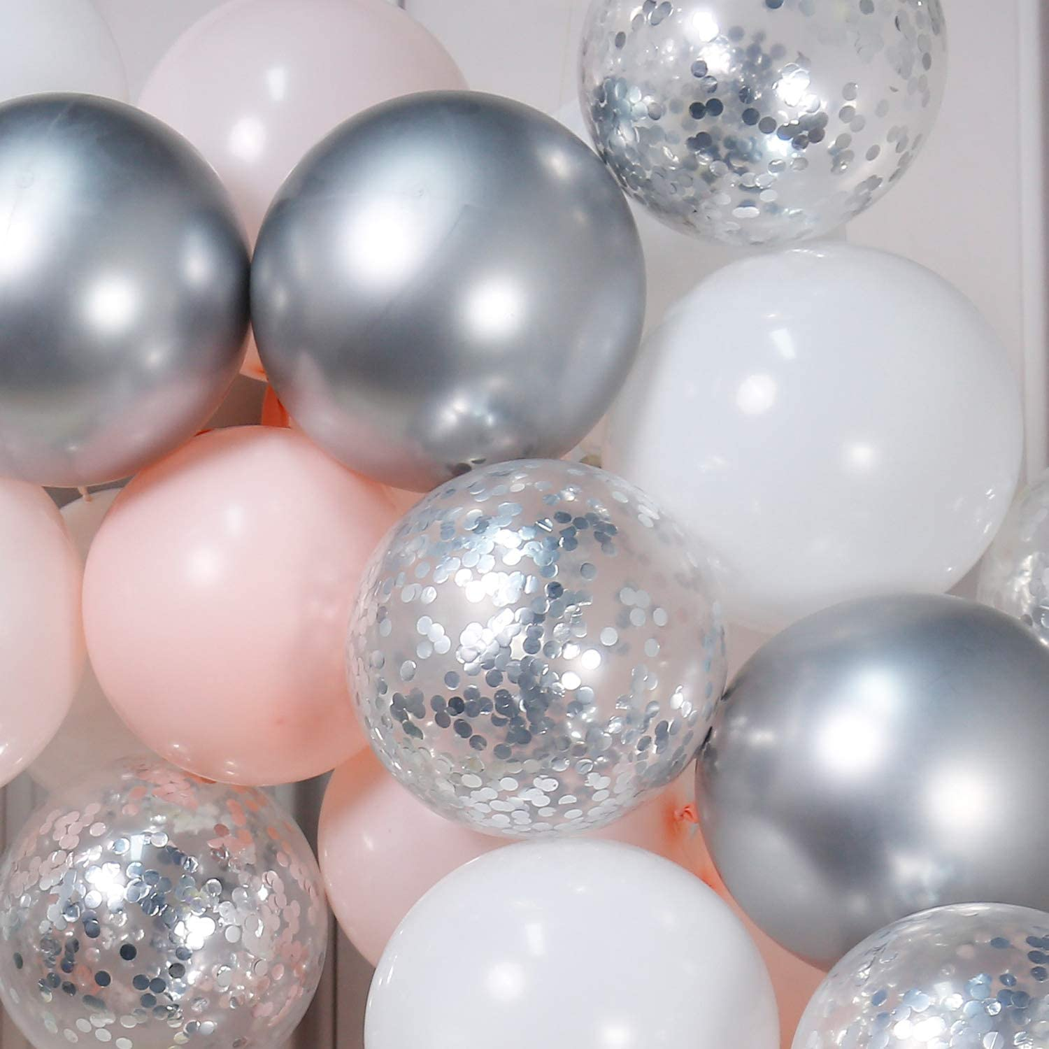 White Balloons Pink and Silver Wedding Party Metallic Balloons PartyWoo Pink Balloons Pink Silver and White Balloons Pack of Pale Pink Latex Balloons Confetti Balloons for Pink Silver Birthday