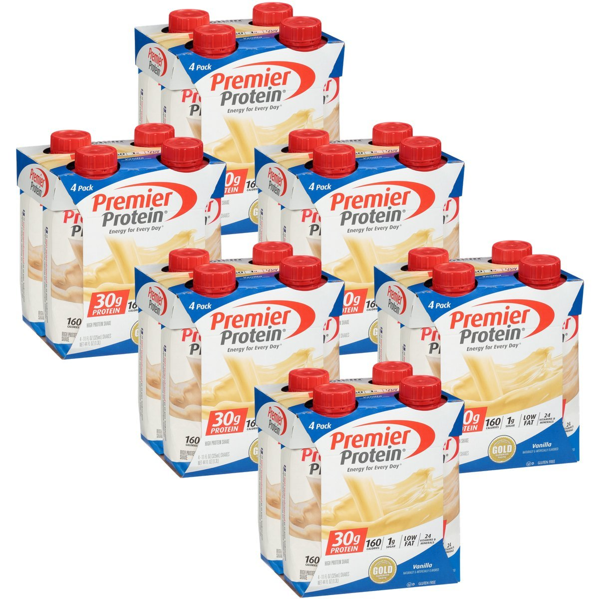 Premier Protein 30g Protein Shakes, Vanilla, 11 Fluid Ounces, 4 Count (Pack of 6)