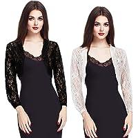 2 Pieces Women 3/4 Sleeve Lace Shrugs Bolero Ruffle Open Front Cardigan Crochet Sheer Crop Jacket Bridesmaid Stole…