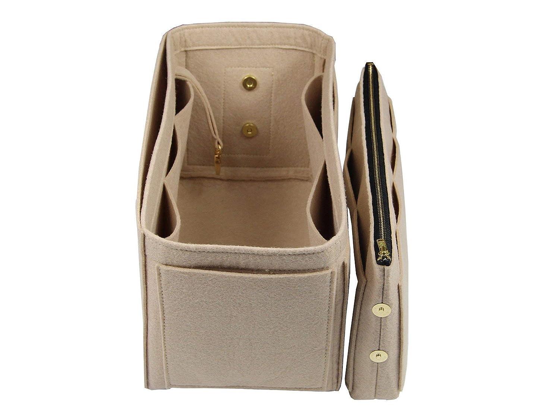 9127ec097 Purse Insert Felt Tote Bag Organizer 3mm Felt, Detachable Pouch w/Metal Zip Fits  Neverfull MM/Speedy 30 ...