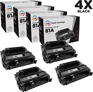 LD Compatible Toner Cartridge Replacement for HP 81A CF281A (Black, 4-Pack)