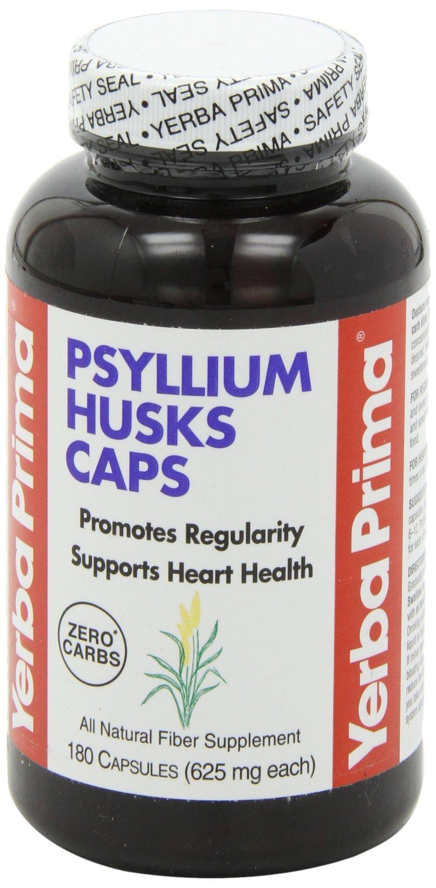 Yerba Prima Psyllium Husks, 625 mg, 180 Capsules(Packaging May Vary)