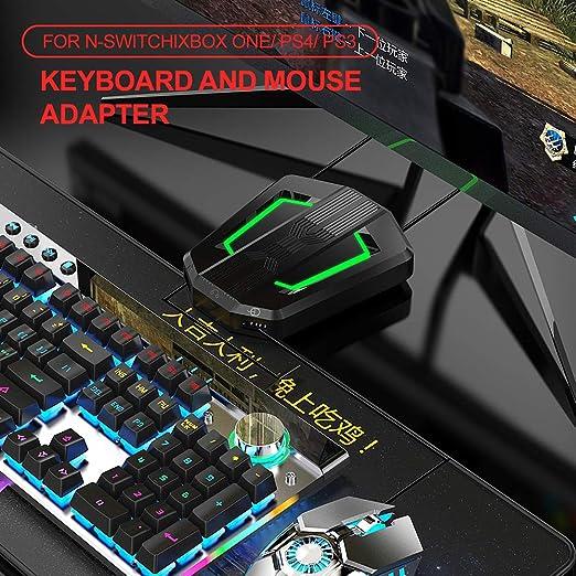 Docooler P6 Adaptador de Rat y Teclado Convertidor de Ratones portátil con luz de respiraci de Cuatro Colores para N-Cambiar / PS4 / PS3 / Xbox One ...